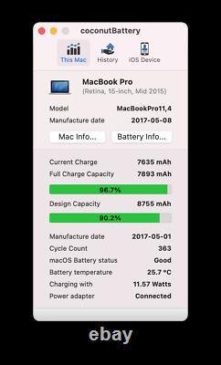 Apple Macbook Pro Retina 15 2.5GHz 512GB SSD Mid 2015 von 2017 Batterie/TFT gut