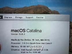 2015 Apple Macbook Pro Retina 15 Ordinateur Portable 16 Go Ram 2.5ghz Qc Radeon Bonne 512go I7