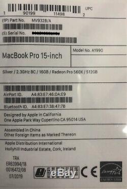 2019 Uk 15 Macbook 2,3ghz I9 8-core 16 Go Ram Ssd 512 Go Argent Rrp £ 2799