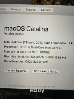 Apple Macbook Pro 13 2017 Tactile Bar 3.1ghz 8gb Ssd 512 Go Cycle Count 11 2030
