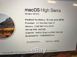 Apple Macbook Pro 2.7ghz 8gb Ram Écran Ssd 128 Go Retina 13 Mars Argent ICI À 2015